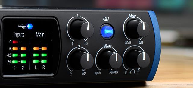 Audio-interface met 48V-fantoomvoeding