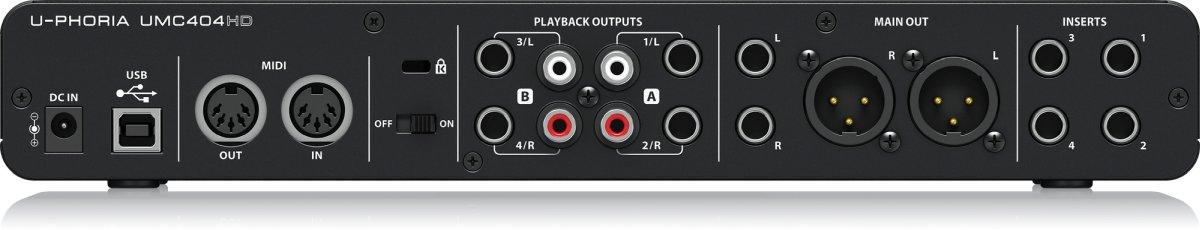 Behringer UMC404HD goedkope audio-interface achter