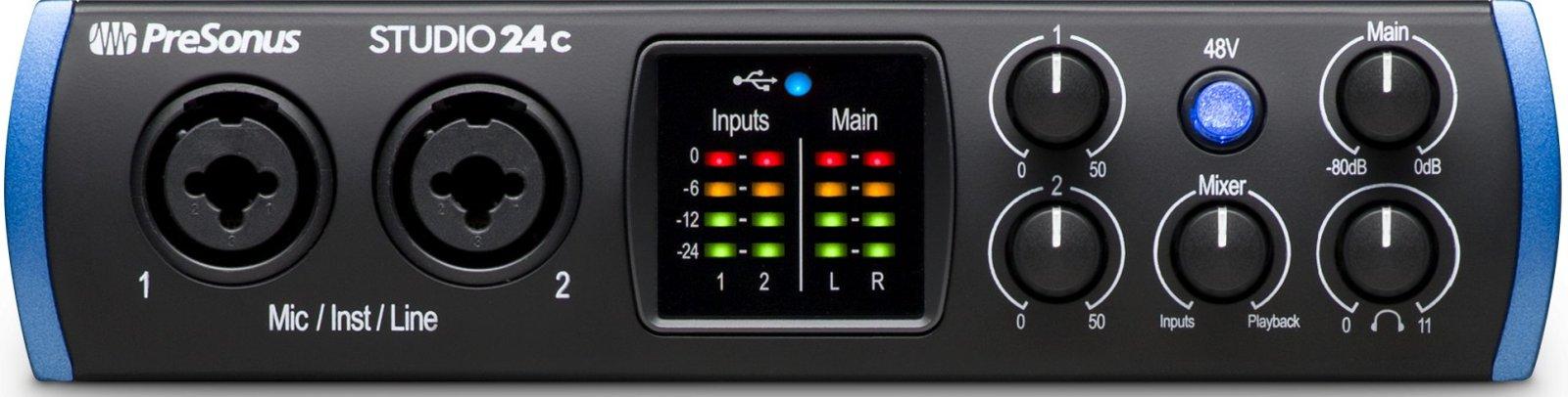 Audio-interface - de voorkant